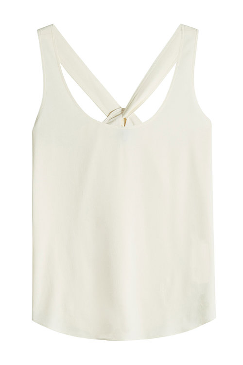 Theory Bintilra Sleeveless Top With Knotted Back In White