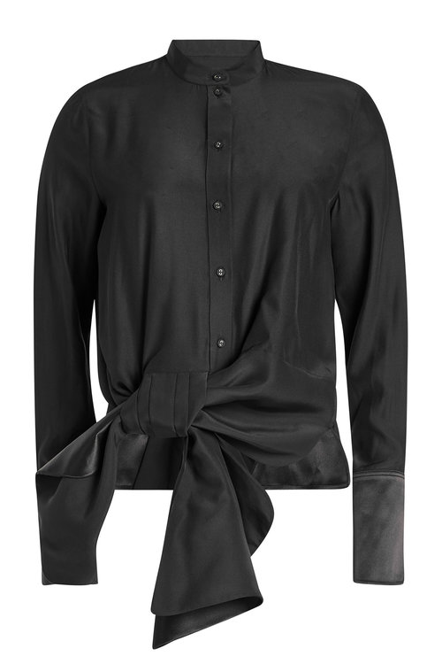 Victoria Victoria Beckham Silk Blouse With Bow Detail In Black