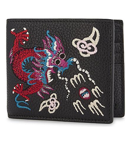 e9f40e96b84 Gucci Rev D Orient Dragon Embroidered Leather Billfold Wallet In ...