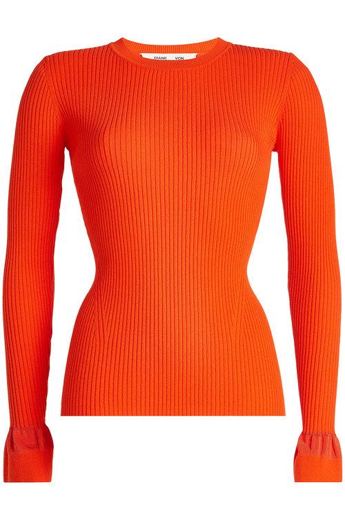 Diane Von Furstenberg Knit Pullover With Statement Cuffs In Red