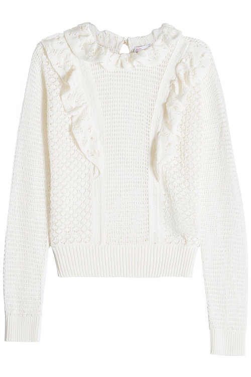 Red Valentino Knitted Cotton Pullover With Ruffle Detail In White