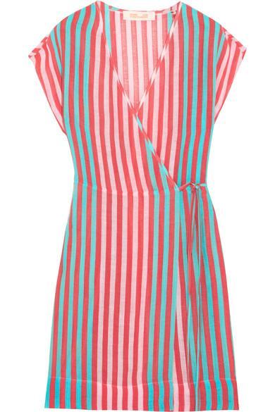 Diane Von Furstenberg Striped Linen-blend Wrap Dress In Coral