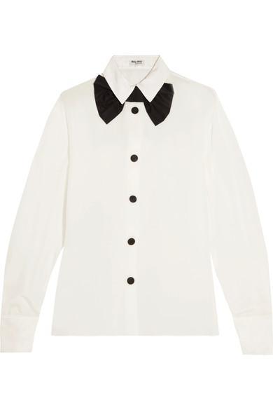 Miu Miu Satin-trimmed Silk Crepe De Chine Shirt