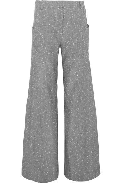 Topshop Unique Wool-blend Tweed Wide-leg Pants In Gray