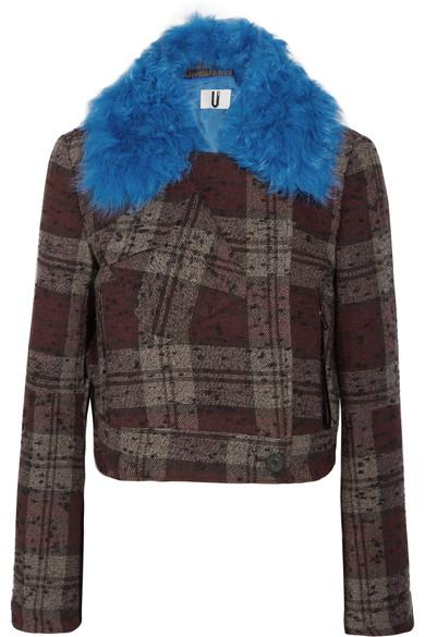 Topshop Unique Cropped Shearling-trimmed Plaid BouclÉ-tweed Jacket In Burgundy