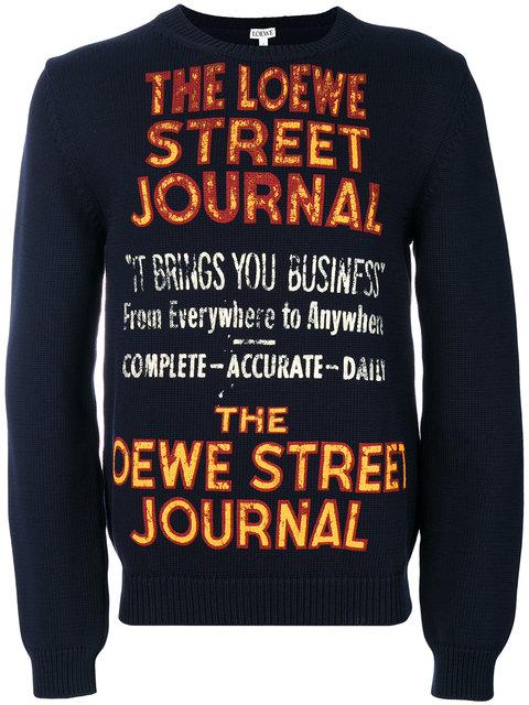 Loewe Printed Cotton-blend Sweater In Blue