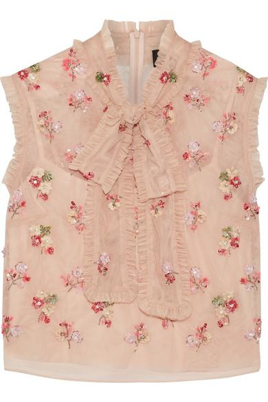 Needle & Thread Rainbow Ditsy Embellished Ruffled Tulle Top In Blush