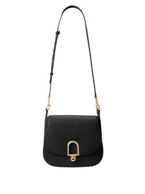 Michael Michael Kors Delfina Large Leather Saddle Bag In Black