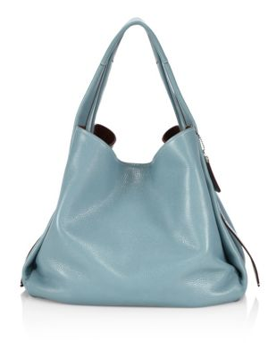 Coach Glovetanned Pebble Leather Hobo Bag In Steel Blue