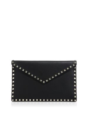 Valentino Rockstud Leather Envelope Pouch In Black