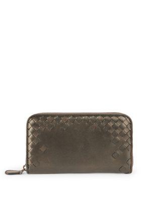 Bottega Veneta Signature Woven Leather Wallet In Lotus