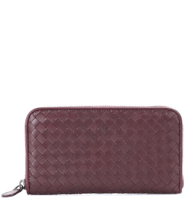 Bottega Veneta Leather Intrecciato Zip-around Wallet In Brown