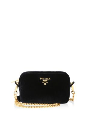 Prada Velvet Zip-top Chain Shoulder Bag In Plum