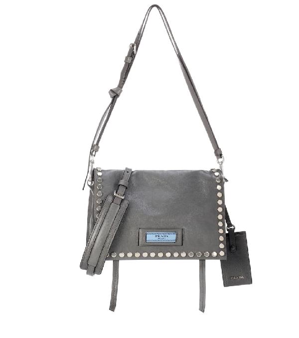 e55e44a05f2e Prada Etiquette Leather Shoulder Bag In Marmo | ModeSens