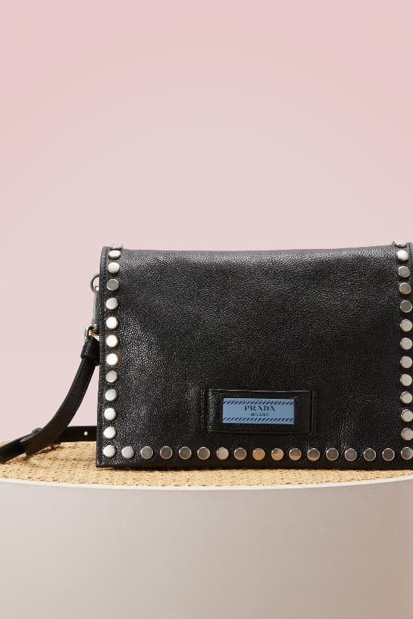 9c0f78da9e41 Prada Small Studded Glace Calf Etiquette Shoulder Bag, Black/Blue ...