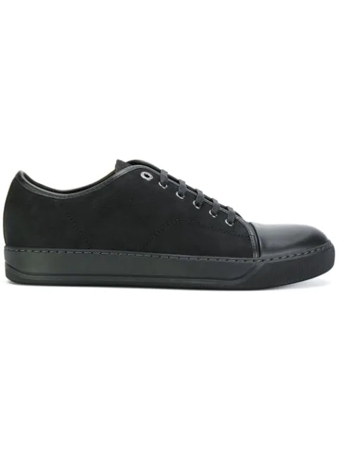 Lanvin Low-top Grained And Smooth-leather Trainers In Black
