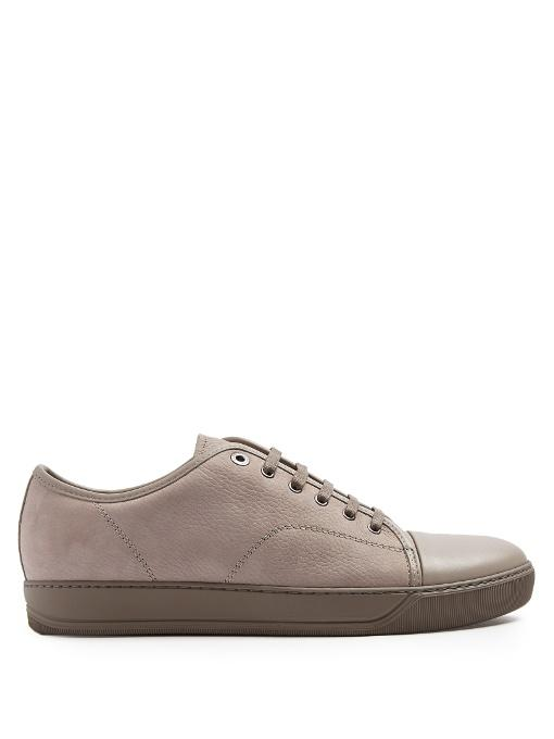 Lanvin Low-top Grained And Smooth-leather Trainers In Grey