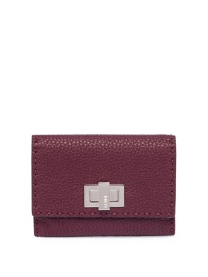 Fendi Peekaboo Leather Wallet In Bordeaux