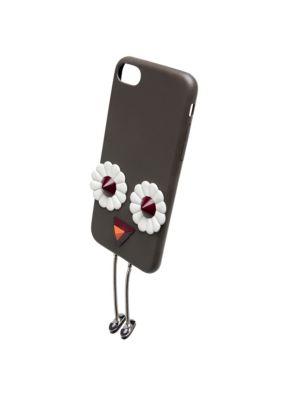 Fendi Embellished Leather Iphone 7 Case In Coal