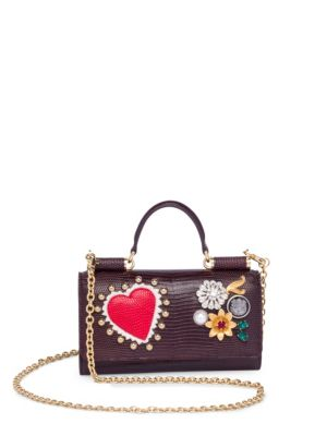 Dolce & Gabbana Studded Leather Phone Bag In Wine