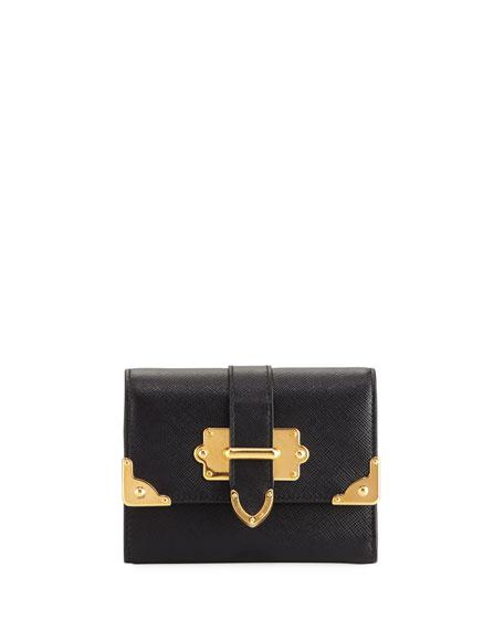 Prada Cahier Saffiano French Flap Wallet In Black