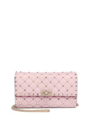Valentino Rockstud Spike Leather Shoulder Bag In Rose