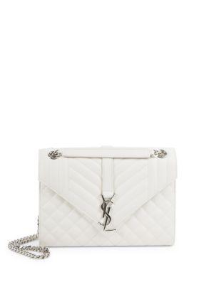 Saint Laurent Medium Monogram Tri-quilted Leather Shoulder Bag In White