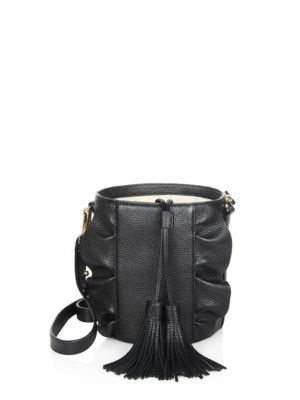 Milly Astor Ruffle Leather Drawstring Bucket In Black