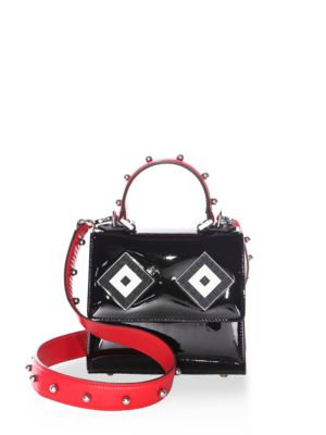 Les Petits Joueurs Baby Alex Mask Sphere-studded Patent Leather Top Handle Bag In Black-red