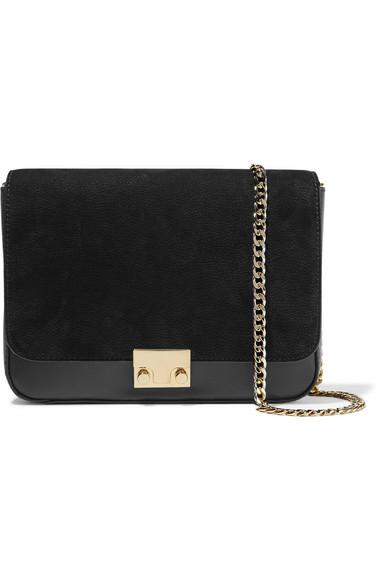 Loeffler Randall Lock Leather And Nubuck Shoulder Bag In Black/Black