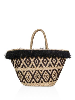 Kayu Lillian Embroidered Raffia Tote In Black