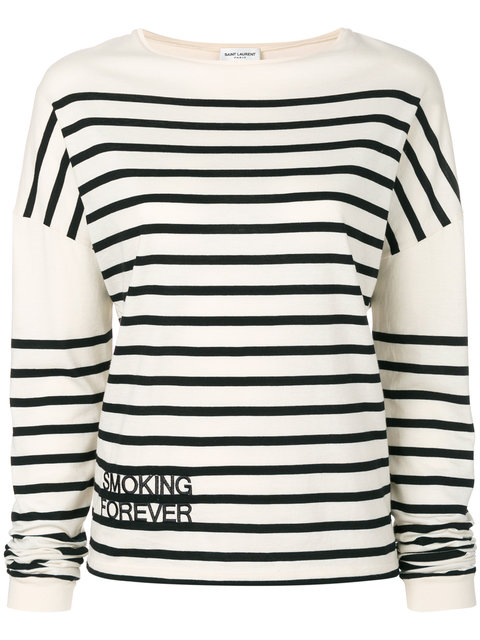 Saint Laurent Striped Smoking Forever Embroidered Top