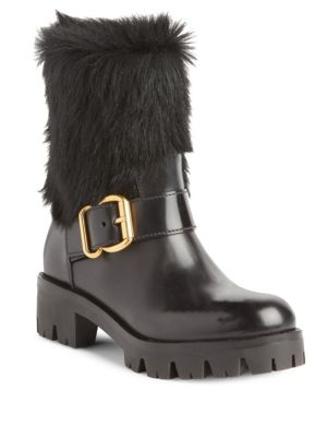Prada Shearling & Leather Moto Boots In Black