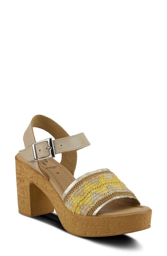 Spring Step Tiada Platform Sandal In Beige Multi Leather