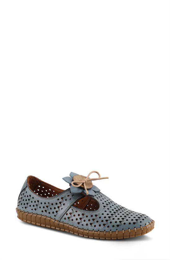Spring Step Sunflowery Perforated Leather Loafer In Denim Blue Leather