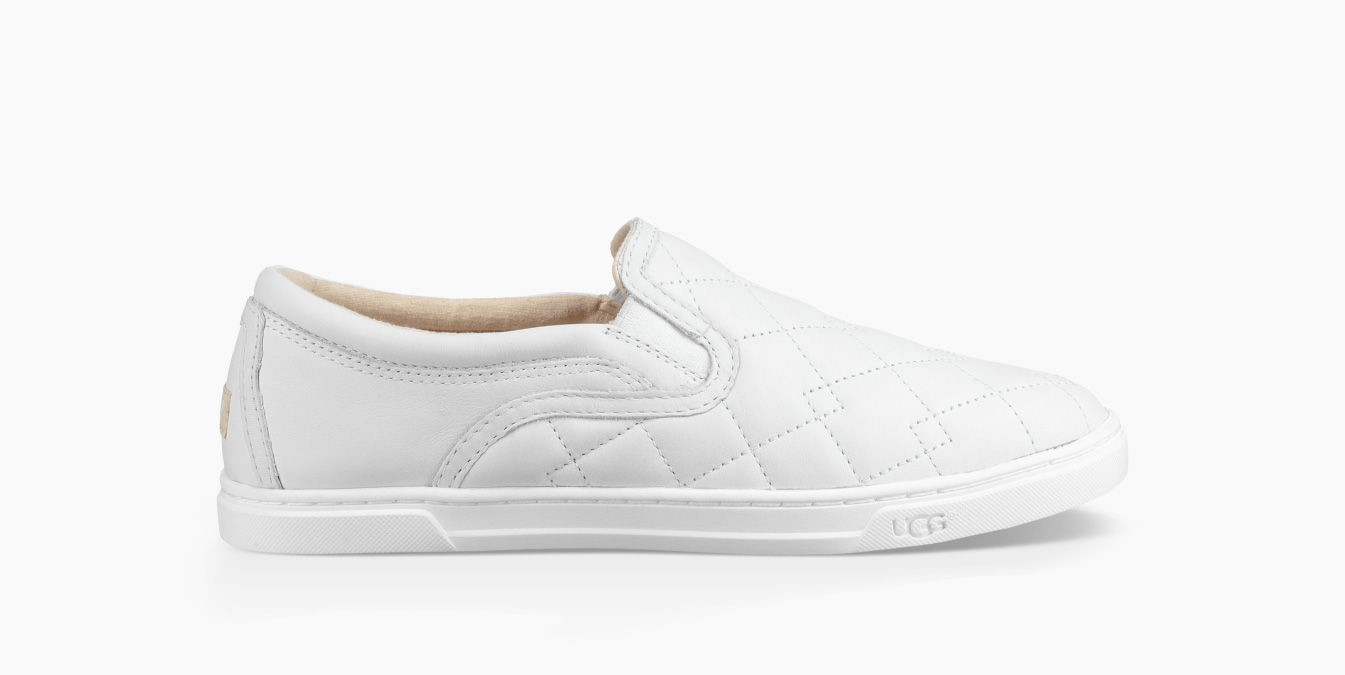 Ugg Fierce Deco Quilted Slip On Sneaker In White Leather