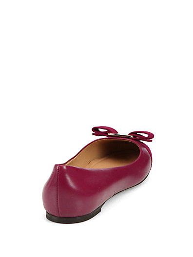 Salvatore Ferragamo Black Leather 'Mimi' Bow Detail Ballerina Flats