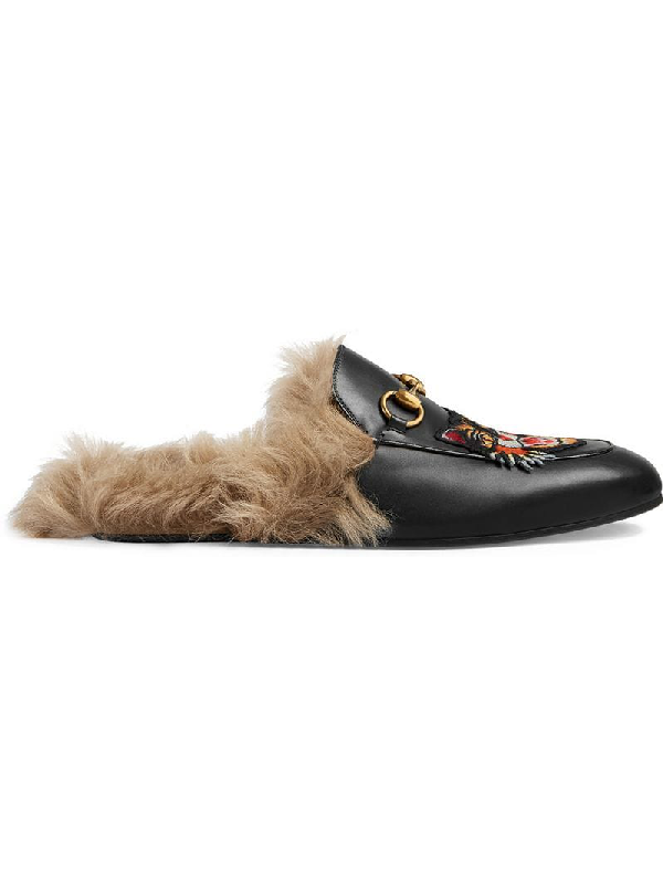 e405d88e4b6 GUCCI. Princetown  Snake Embroidered Kangaroo Fur Leather Slide Loafers ...