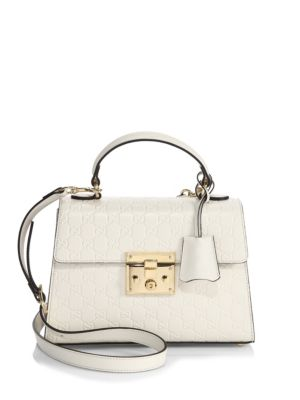 Gucci Padlock Small Gg Leather Top-handle Bag In Mystic White