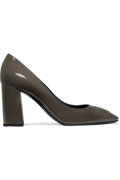 Bottega Veneta Intrecciato Patent-leather Pumps In Gray