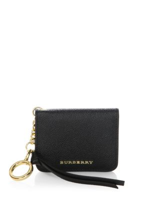 Burberry Grainy Leather Id Card Case Charm In Black