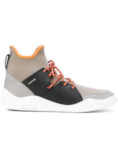 Lanvin Knit Neoprene High-top Sneakers In Neutrals
