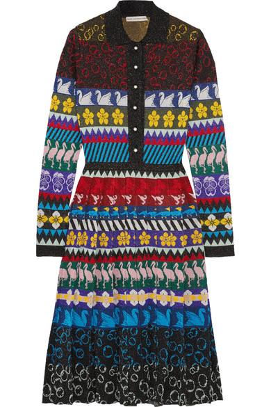 Mary Katrantzou Cecile Pleated Lurex Jacquard-knit Midi Dress In 888 Multi