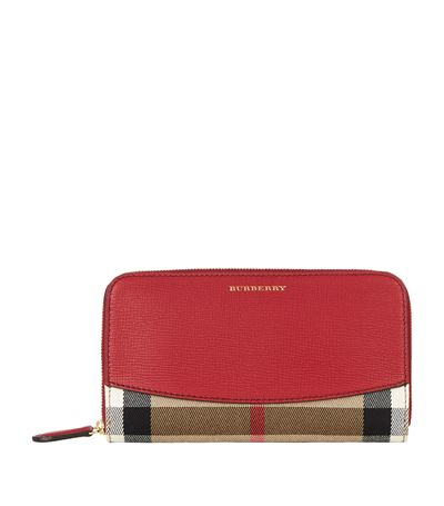 Burberry Elmore Check And Leather Zip-around Wallet In Brown