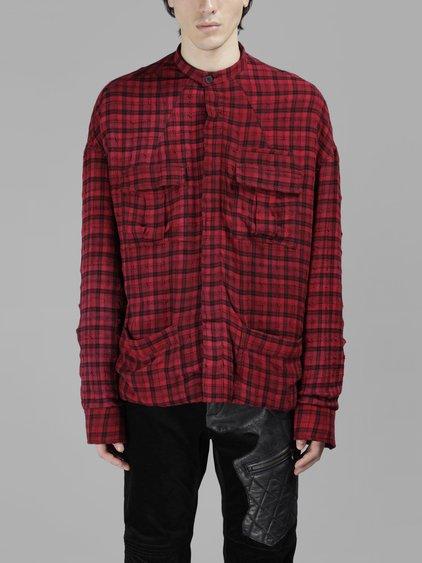 Haider Ackermann Red Oversized Check Shirt Jacket