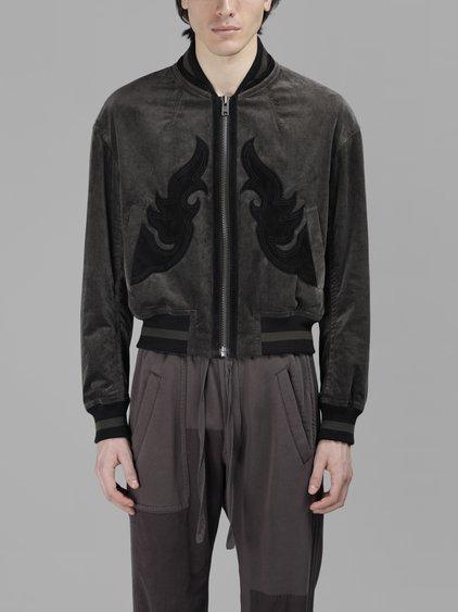 Haider Ackermann Velvet Bomber Jacket In Grey