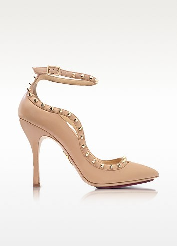 Charlotte Olympia Pimlico Nude Leather Ankle Strap Pump