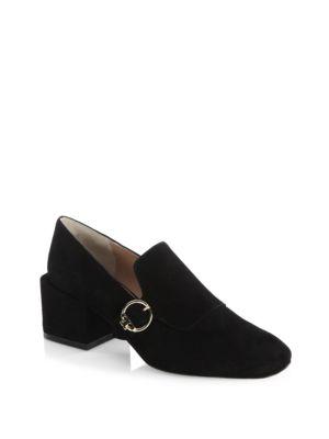 Tory Burch Tess Suede Block-heel Loafer In Black
