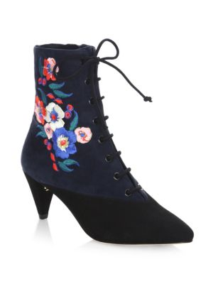 Tory Burch Cassidy Embroidered Lace-up 45mm Bootie, Black/battleship Blue/pansy Bouquet