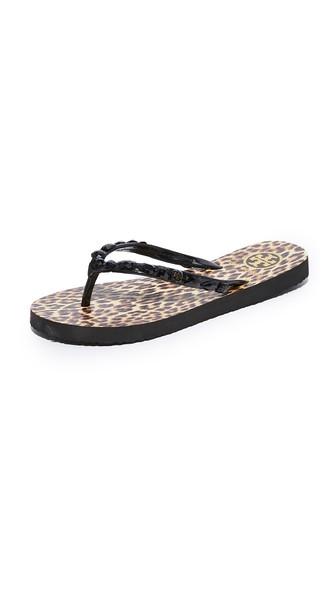 Tory Burch Jeweled Thin Platform Flip Flop, Leopard In Black/leopard